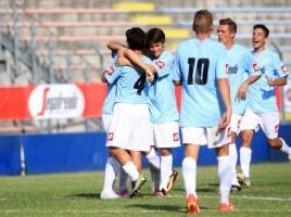 Esultanza dopo gol di Quell'Erba in Treviso-Cornedo 3-0
