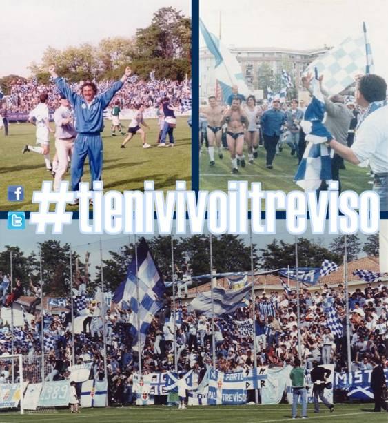 11 maggio 1997, Serie C1: il Treviso batte 2-1 la Spal grazie ai gol di Flavio Fiorio ed Ezio Rossi, e torna in Serie B dopo 42 anni. Nelle immagini la gioia di mister Bepi Pillon per la terza promozione consecutiva, la corsa dei giocatori insieme ai tifosi e la curva sud in festa.