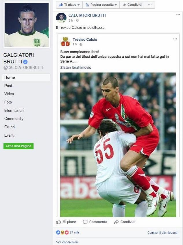 Da Treviso Calcio a CALCIATORI BRUTTI: gli auguri biancocelsti a Ibra