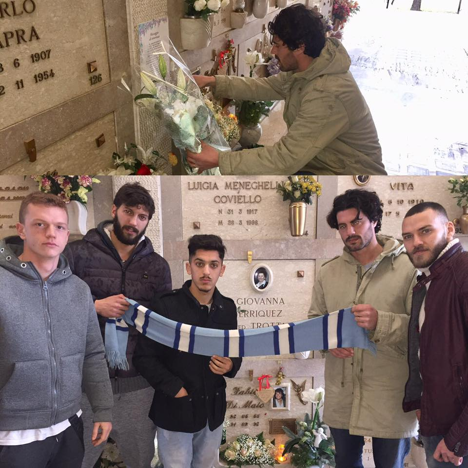 Carraro, Marchiori, Guercilena, Nichele e Tunno, in trappresentanza di squadra e società, hanno onorato la memoria di Fabio Di Maio (foto Acd Treviso)