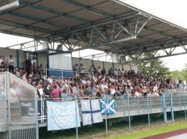 La tribuna dello stadio Righetto di Quinto di Treviso durante l'amichevole con la Sampdoria Primavera (foto FotoStampa Bruno De Martin fotografo)