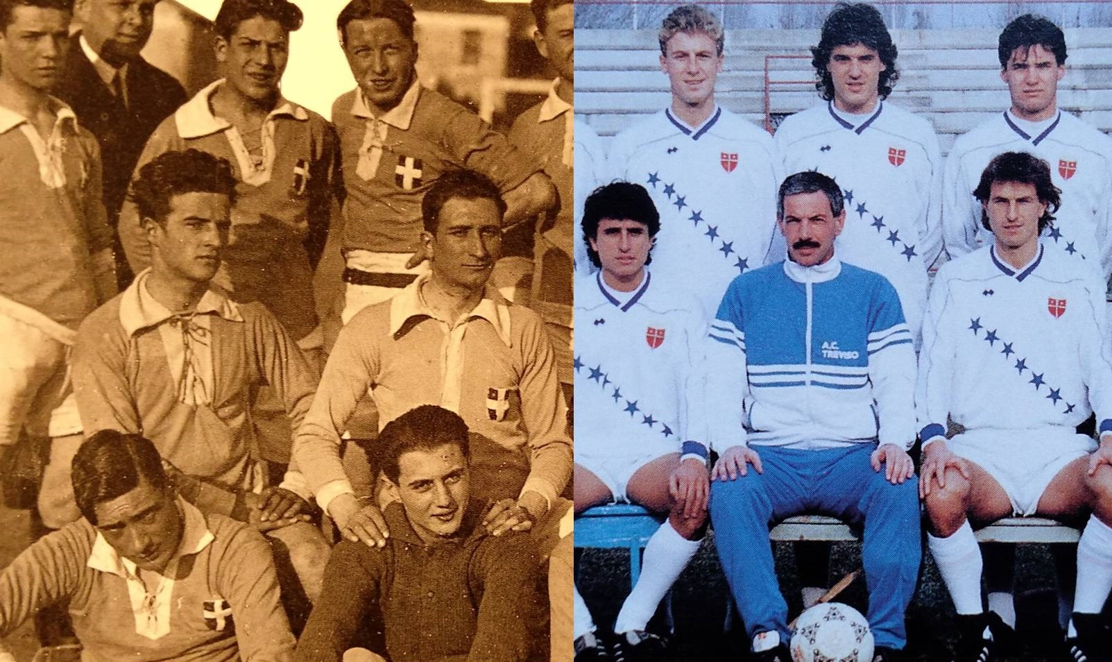1919-1989: due diverse versioni dello stemma cittadino utilizzato dal Treviso calcio