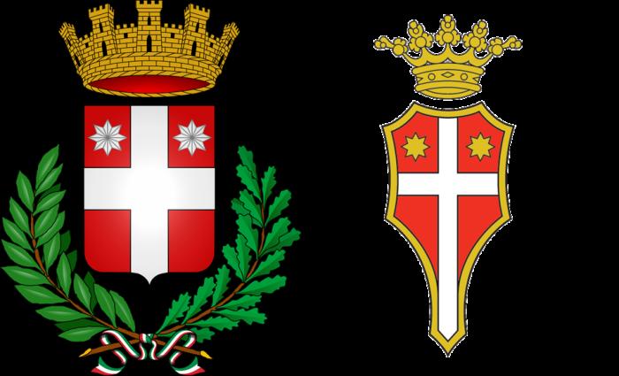 Lo stemma del comune di Treviso e quello del Treviso calcio