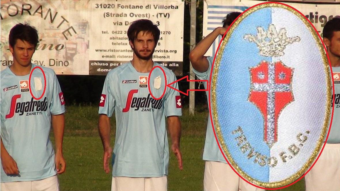Nelle prime uscite amichevoli, il neonato Acd Treviso aveva dovuto prima coprire e poi rimuovere dalle maglie lo stemma del Treviso Fbc